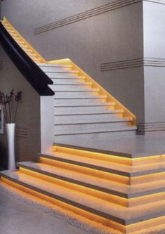 This is a good example of what an LED strip under the lip of each step would look like