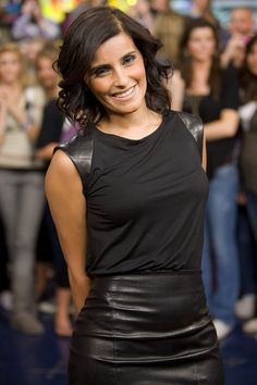 Nelly Furtado appearing on the Canadian TV show Much On Demand Leather Dresses, Leather Skirt, Nelly Furtado, Leather Gloves, Dress Skirt, Tv Shows, Beautiful Women, Female, Celebrities