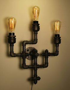 Creative Handmade Industrial Lighting Design Ideas You Can DIY - Lamps are decorative and functional pieces. They provide lighting and aesthetic appeal to various rooms in the house. You can have a lamp in your bedr. Vintage Industrial Lighting, Industrial Light Fixtures, Industrial Shelving, Industrial Style, Light In, Lamp Light, Steam Punk Diy, Lampe Tube, Tube Acier