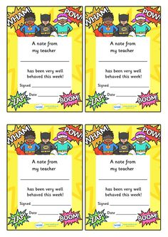 Twinkl Resources >> Note From Teacher- Well Behaved This Week- Superhero Theme  >> Classroom printables for Pre-School, Kindergarten, Elementary School and beyond! Teacher Notes, Awards, Superhero Theme, Class Management
