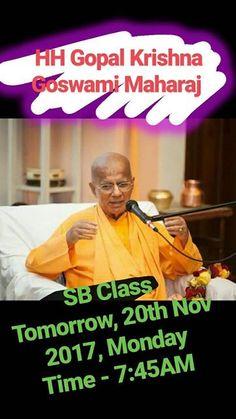 HH Gopal Krishna Goswami Maharaja will give Srimad Bhagavatam class tomorrow.   Date - 20th Nov 2017 Monday Time - 7:45AM  Venue - ISKCON Temple Chandigarh   _Don't miss to take the benefits of transcendental words_   #radha #krishna #Prabhupada #devotion #harekrishna #iskcon #chandigarh