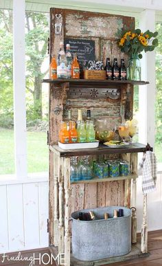 Upcycled Vintage Door Beverage Bar Station DIY outdoor, backyard, garden party Beverage Bar Station using a recycled door with added shelves. Notice the bottle opener near the top left of the door. Salvaged Doors, Old Doors, Repurposed Doors, Diy Home Bar, Bars For Home, Upcycled Home Decor, Repurposed Furniture, Industrial Furniture, Industrial Table