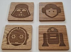 Wood Engraved Star Wars Coasters Custom by FlolliePopDesigns