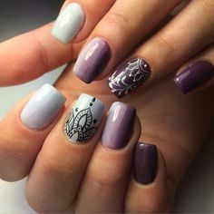 Autumn nails with a pattern, Color transition nails, Drawings on nails, Ethnic nails, Exquisite nails, Festive nails, Nails shellac gradient, Party nails