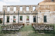 industrial ceremony setup - photo by Mackensey Alexander Indoor Wedding, Diy Wedding, Wedding Ceremony, Wedding Venues, Dream Wedding, Museum Wedding, Ceremony Backdrop, Southern Weddings, Event Styling