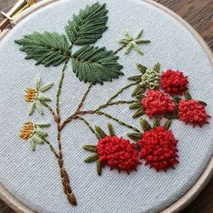 Textured berries - embroidery art