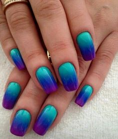 20 Cute Nail Art Designs Ideas for Your Inspiration - Nail Design Ideas, Gallery of Best Nail Designs Nagellack Design, Nagellack Trends, Cute Nail Art Designs, Pedicure Designs, Teal Nail Designs, Best Acrylic Nails, Blue Nails, Purple Ombre Nails, Purple Nail Art