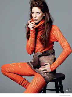 Carla Ciffoni Layers in Fall Knitwear for ELLE UK by Bjarne Jonasson
