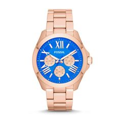#Fossil Cecile Multifunction Stainless Steel Watch in Rose Gold and blue