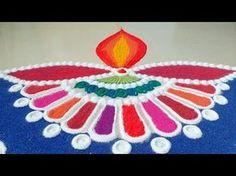 NEW Beautiful Diya Rangoli For Diwali - UNIQUE and INNOVATIVE Rangoli By Maya ! - YouTube
