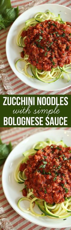 Zucchini Noodles with Simple Bolognese Sauce - love using zucchini to replace pasta for dinner! This recipe looks so delicious and SO healthy!