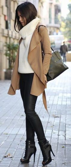 how to wear a brown coat : bag + boots + skinnies + white sweater