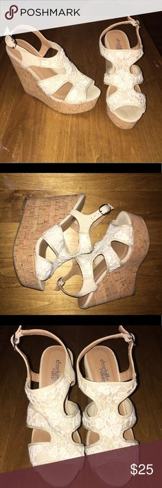 Charlotte Russe Wedges size 6 Worn once for my high school graduation but haven't worn since. Perfect for summer weather! Charlotte Russe Shoes Wedges