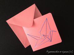 Carte brodée  Grue Origami  Rose/bleu par SensitiveLife sur Etsy       Papeterie et accessoires de fête Papeterie Cartes de vœux Sans message carte postale brodée origami grue kit disponible rose violet enveloppe