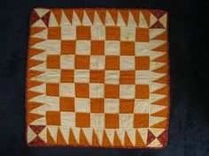"Antique Doll Quilt Orange Checker Design 19th C, 16"" x 16"" 