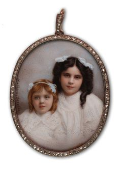 c1901. Signed. Mathieu Deroche. Two Unknown Girls.