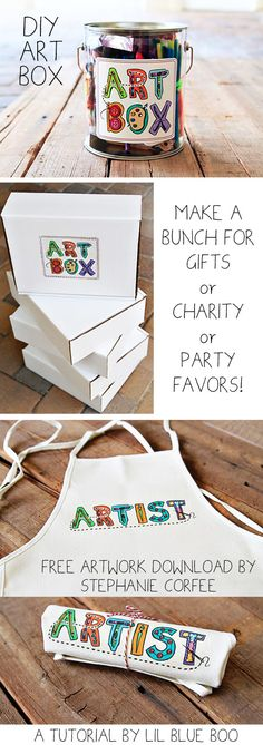 The Gift of Art (DIY Art Box and Free Artwork Download by Stephanie Corfee) via lilblueboo.com #gift #christmas #diy #printable