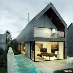 Dom ze SPAdkiem w Krakowie - Tamizo Architects Mateusz Stolarski Contemporary Architecture, Architecture Design, Tamizo Architects, Gable House, House Cladding, Modern Barn House, Black House Exterior, Hillside House, Affordable House Plans