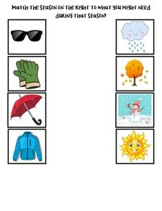 Seasons of the Year by Early Childhood Resource Center Weather For Kids, Weather Activities For Kids, Preschool Learning Activities, Free Preschool, Preschool Worksheets, Kids Learning, Seasons Worksheets, Kindergarten Art Lessons, Community Helpers Preschool