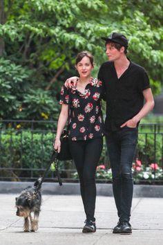 Dakota Johnson with her boyfriend and dog