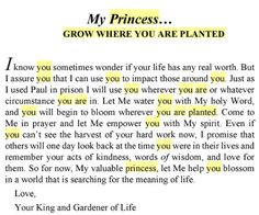 Grow we're you are planted... His princess