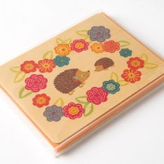 Hazel Hedgie Boxed Flat Wood Cards by Night Owl Paper (Set of 6)