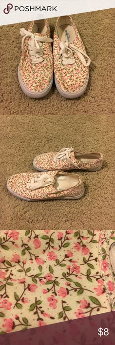 Flower shoes Super comfy vans-like shoes with floral print. Has white laces. In good conditions. From a smoke free home. Mossimo Supply Co. Shoes Sneakers