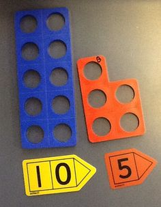 "Using Numicon to learn about tens and units, this is combined with using ""arrow cards"""
