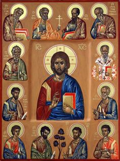 The Synaxis of the Twelve Apostles, with our Lord, Jesus Christ, at the centre. Religious Images, Religious Icons, Religious Art, Byzantine Icons, Byzantine Art, Catholic Prayers, Catholic Saints, Christus Pantokrator, Roman Church