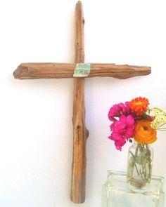 Driftwood Cross,  Wood Wall Art, Turquoise pottery shard, Natural Cedar, 21 Inches Tall, Rustic Wall Crucifix, Beach Wedding, Gift Ideas by DivineDriftwood on Etsy