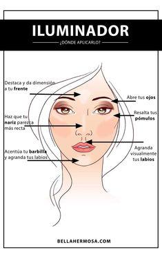 -maquillaje iluminador donde aplicarlo maquillaje iluminador donde aplicarlo See it Diy Makeup, Makeup Tools, Makeup Inspo, Makeup Products, Face Products, Makeup Box, Beauty Products, Face Makeup, Make Up Tricks