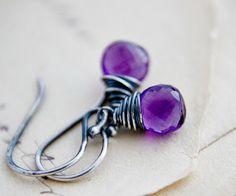 Amethyst Earrings February Birthstone Drop Earrings by PoleStar, $53.00