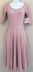 NWT Lularoe Nicole Dress Size XXS Stretch Scoopneck Fit & Flare Pink Floral