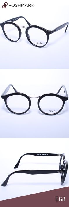 28c6fd06e1196 Ray Ban Round Eyeglasses RB 7110 2000 Glossy Black Ray Ban Round Eyeglasses  RB 7110 2000
