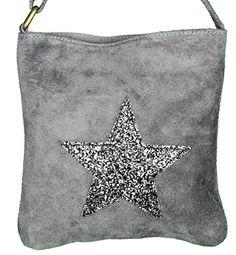 Mevina Damen Schultertasche Shopper mit Stern Glitzer Pailletten echtes Wildleder Handtasche Henkeltasche viele Farben - 22x22x10 cm (B x H x T)