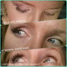 1/2 face makeup.  What a difference lashes make!!   Do you have your 3D Fiber Lash mascara? www.earthalashesout.com #makeup #mascara #makeuptips