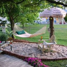 Beach Yard Design Ideas that Will Make your Inner Beach Bum Happy What a great idea for a backyard beach! A grown up sandbox!What a great idea for a backyard beach! A grown up sandbox! Backyard Beach, Backyard Paradise, Backyard Hammock, Hammock Ideas, Tropical Paradise, Tiny Paradise, Oasis Backyard, Kids Hammock, Backyard Toys