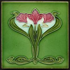 TH2965 Excellent & Rare Art Nouveau Majolica Tile Henry Richards c.1905