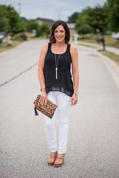 How to style a layered tank for a dressed-up casual summer outfit and a discussion about fabric care with Faultless Premium Starch.