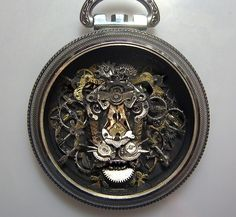 Artist Sue Beatrice. Pocket watch art, steam punk, jewelry pendant