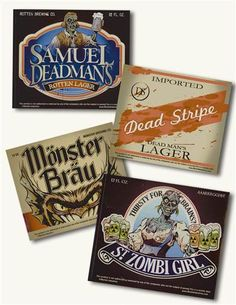 """HALLOWEEN BEER BOTTLE LABELS (SET OF 24) Transform a bottle into a deadly potion! Clever gummed labels will underestimate the bouquet of a fine vintage or brew. 24 assorted. 4 x 3.5""""."""