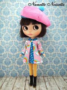 Nanette Noisettes Rainbow outfit, dress and hat for Blythe dolls