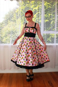 Rockabilly Cupcake Dress Charlie with Black Satin Trim, Button Detail and Ric Rac Trim - Custom made to fit via Etsy
