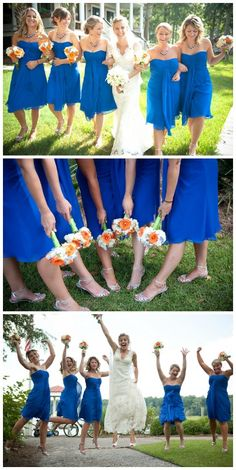 yup, great colors!Blue, orange and green wedding inspiration, photography by UP STUDIOS, via Aphrodite's Wedding Blog. (I'd like daffodil yellow instead of the orange, though) Love these colors