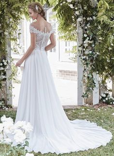 Delicate lace and chiffon gown-$