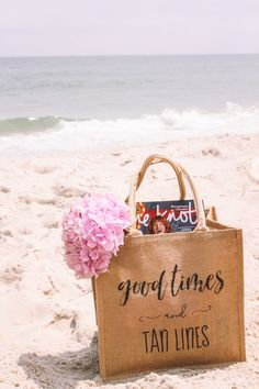 Good times and tan lines! Are you ready for the beach like we are? These totes are soooo cute and perfect for your girls weekend! Bridesmaid Gifts From Bride, Bridesmaid Tips, Will You Be My Bridesmaid Gifts, Bridesmaid Gift Bags, Bridesmaid Proposal Box, Bride Gifts, Wedding Gifts, Burlap Tote, Bride Getting Ready
