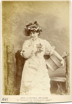 Cabinet photograph of Leonora Braham as Patience in Patience, by Elliott & Fry, c.1881, original production.