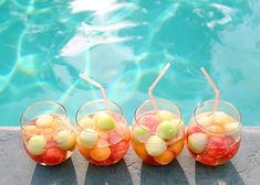 sparkling melon sangria with cantaloupe, honeydew and watermelon
