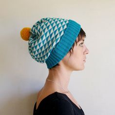 Triangle Knit Hat, Wool Slouchy Beanie, Winter Hat, Teal  White with Mustard Pom Pom on Etsy, $38.40
