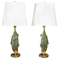 Pair of Pepe Mendoza Fish Bronze Table Lamps | From a unique collection of antique and modern table lamps at https://www.1stdibs.com/furniture/lighting/table-lamps/